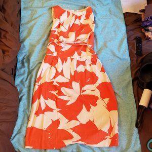 NWOT London Times Orange Cream Floral Dress Size10